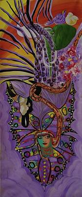 Poster featuring the painting Butterfly And The Peacock by Sima Amid Wewetzer