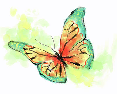 Butterfly Digital Watercolor Painting Poster