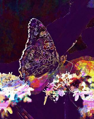 Poster featuring the digital art Butterfly Flower Summer Forage  by PixBreak Art