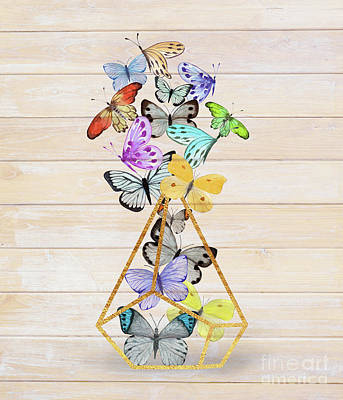 Butterfly Gold Wire Terrarium Against Whitewashed Wood Poster
