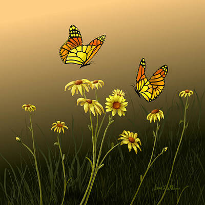 Poster featuring the painting Butterfly Haven by Sena Wilson