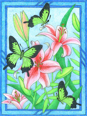 Butterfly Idyll- Lilies Poster
