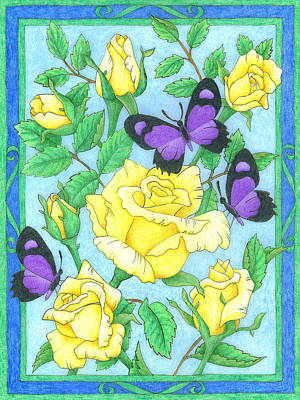 Butterfly Idyll-roses Poster