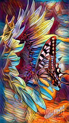 Butterfly On Sunflower - Crystal Rainbow Abstract Poster