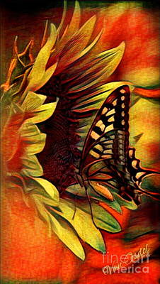 Butterfly On Sunflower - Setting Sun Abstract Poster