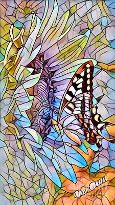 Butterfly On Sunflower - Stained Glass Abstract Poster