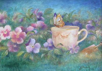 Poster featuring the painting Butterfly On Teacup by Judith Cheng