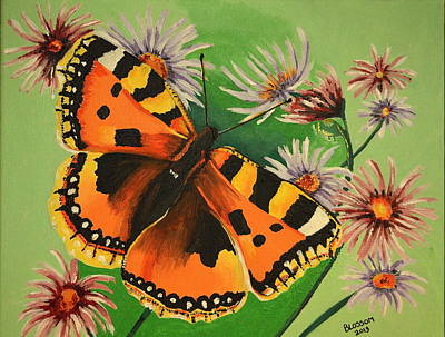 Butterfly With Asters Poster