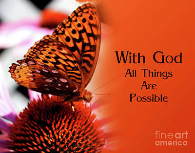 Butterfly With God Inspirational Poster