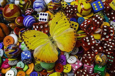 Butterfly With Marbles And Dice Poster by Garry Gay