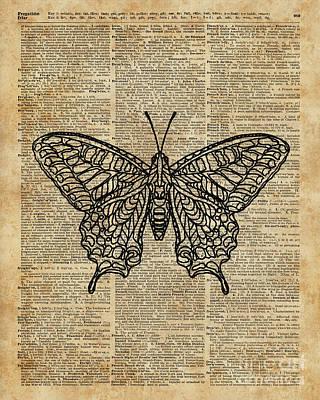 Butterfly Zentagle Vinatge Dictionary Art Poster