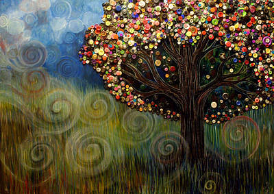 Button Tree 0003 Poster by Monica Furlow