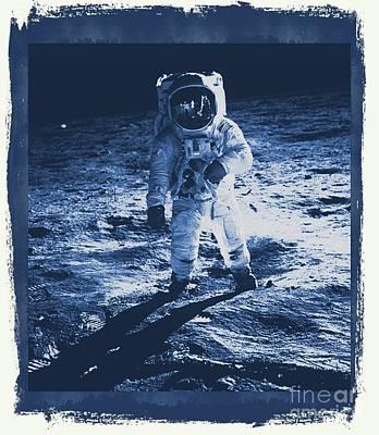 Buzz Aldrin On The Moon, Apollo 11, Nasa Poster by Raphael Terra