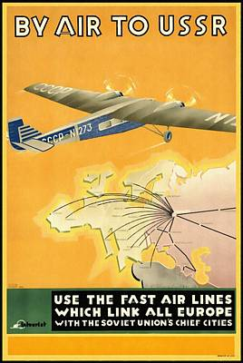 By Air To Ussr With The Soviet Union's Chief Cities - Vintage Poster Restored Poster