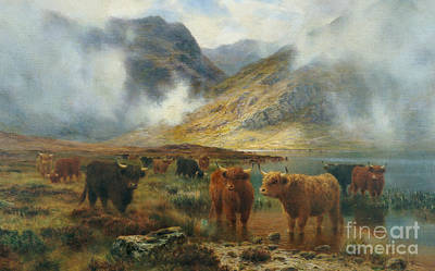 By Loch Treachlan, Glencoe, Morning Mists Poster by Louis Bosworth Hurt