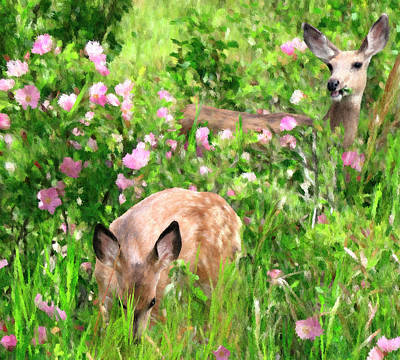 By Mother's Side - Impressionist Doe And Fawn Digital Painting Poster by Rayanda Arts