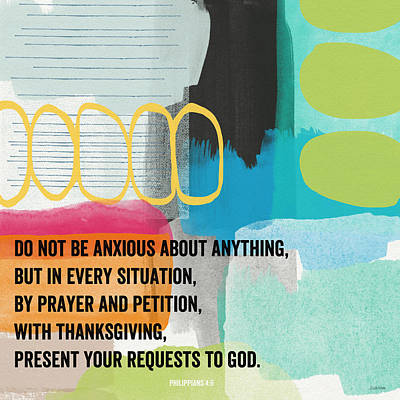 By Prayer And Petition- Contemporary Christian Art By Linda Wood Poster by Linda Woods