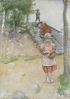 By The Cellar Poster by Carl Larsson