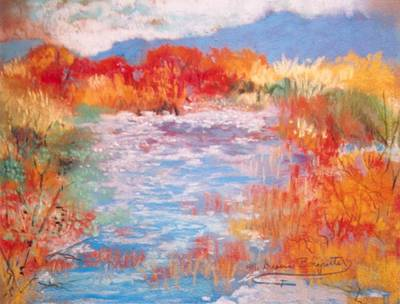 By The River Poster by M Diane Bonaparte