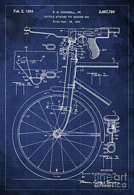 Bycicle Attached Toy Machine Gun Patent Blueprint, Year 1951 Blue Vintage Art Poster