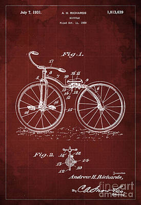 Bycicle Patent Blueprint Year 1930 Red Vintage Poster Poster
