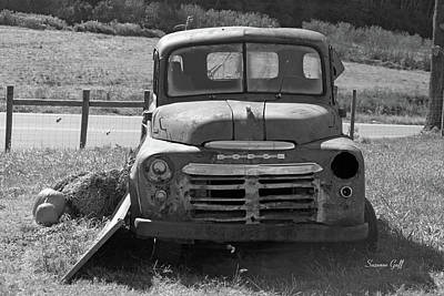 Bygone Dodge In Black And White Poster