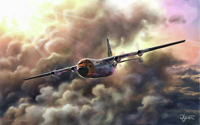 Poster featuring the painting C-130 Hercules by Dave Luebbert