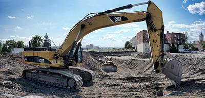 C A T Backhoe And D 9 Dozer Poster by Daniel Hagerman