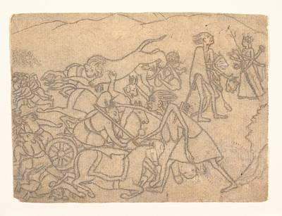 Ca 1780   Kali Presenting The Heads Of Chanda And Munda To Durga Scene From The Devi Mahatmya Glory Of The Goddess Poster