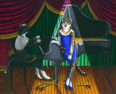 Cabaret Cats Poster by Carol Wilson