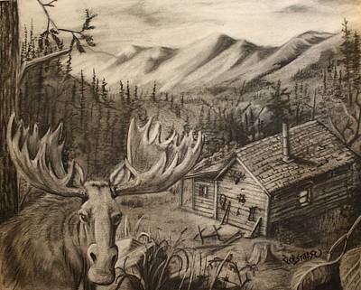 Cabin In Moose Valley Poster by Rick Stoesz