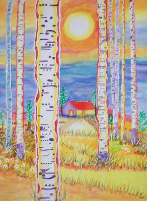 Poster featuring the painting Cabin In The Woods by Connie Valasco
