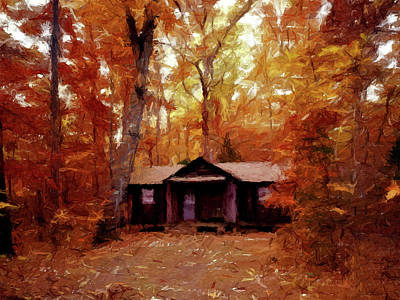 Poster featuring the painting Cabin In The Woods P D P by David Dehner