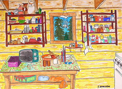 Cabin Kitchen Poster by Sarah Hamilton
