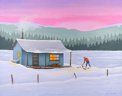 Cabin On A Frozen Lake Poster