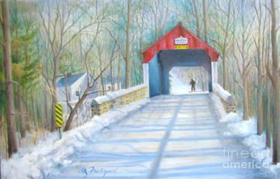 Cabin Run Bridge In Winter Poster