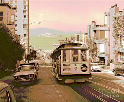 Cable Car On Hyde Street Hill San Francisco Poster by Padre Art