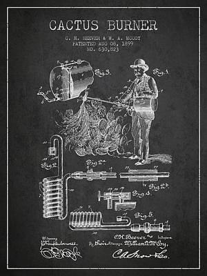Cactus Burner Patent From 1899 - Charcoal Poster by Aged Pixel