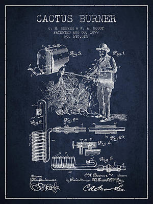 Cactus Burner Patent From 1899 - Navy Blue Poster by Aged Pixel