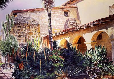 Cactus Courtyard Mission Santa Barbara Poster