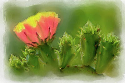 Poster featuring the painting Cactus Flower On A Cactus Plant Ap by Dan Carmichael