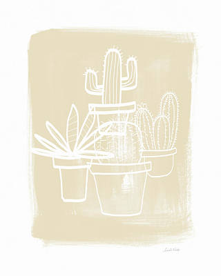 Cactus In Pots- Art By Linda Woods Poster by Linda Woods