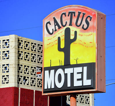 Poster featuring the photograph Cactus Motel Sign by David Lee Thompson