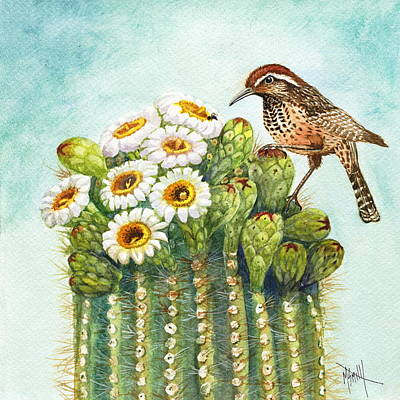 Poster featuring the painting Cactus Wren And Saguaro by Marilyn Smith
