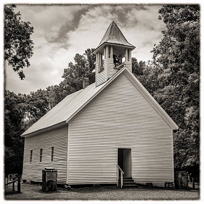 Cades Cove Primitive Baptist Church - Toned Bw W Border Poster by Stephen Stookey