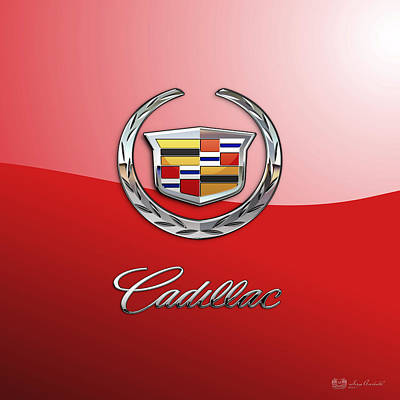 Cadillac - 3 D Badge On Red Poster by Serge Averbukh