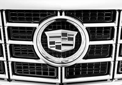 Cadillac Emblem Front Bw Poster