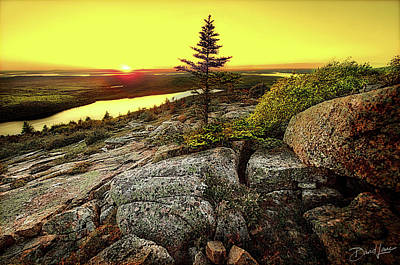 Poster featuring the photograph Cadillac Mountain Sunset by David A Lane