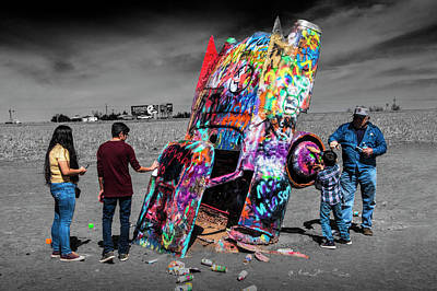 Poster featuring the photograph Cadillac Ranch Spray Paint Fun Along Historic Route 66 By Amarillo Texas by Randall Nyhof