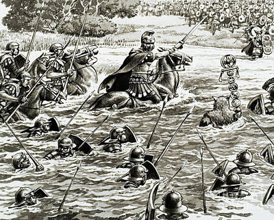 Caesar's Legions Crossing The Thames Poster by Pat Nicolle